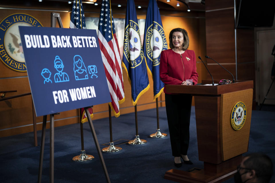 Speaker of the House Nancy Pelosi, D-Calif., speaks during a press conference on Capitol Hill on Wednesday, Sept. 08, 2021 in Washington, DC. (Jabin Botsford/The Washington Post via Getty Images)