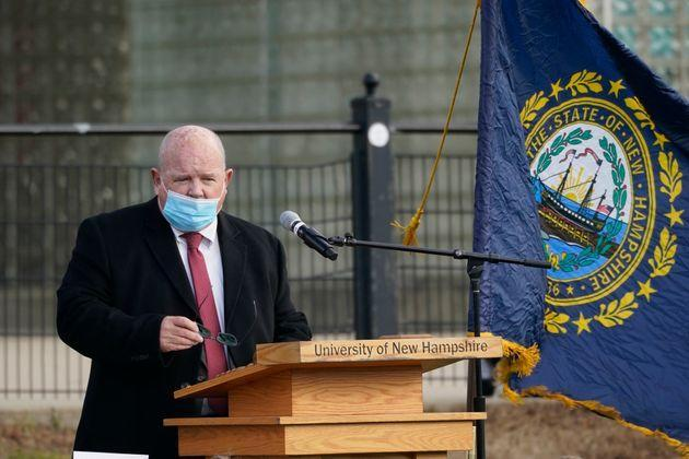 In this Dec. 2, 2020 photo, New Hampshire House Speaker Dick Hinch speaks during an outdoor legislative session. Hinch died on Dec. 9, 2020, just a week after he was sworn in as leader of the state's newly Republican-led Legislature. He was 71. (Photo: Elise Amendola/Associated Press)
