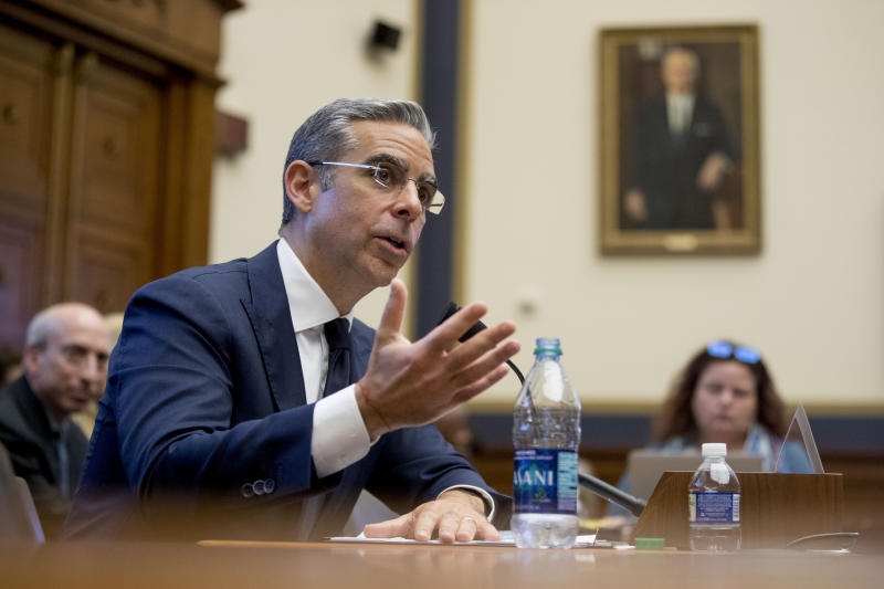 David Marcus, CEO of Facebook's Calibra digital wallet service, speaks during a House Financial Services Committee hearing on Facebook's proposed cryptocurrency on Capitol Hill in Washington, Wednesday, July 17, 2019. (AP Photo/Andrew Harnik)
