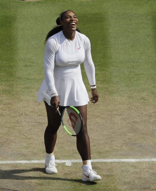 Serena Williams of the US celebrates defeating Julia Goerges of Germany in their women's semifinal match at the Wimbledon Tennis Championships in London, Thursday July 12, 2018. (AP Photo/Ben Curtis, Pool)