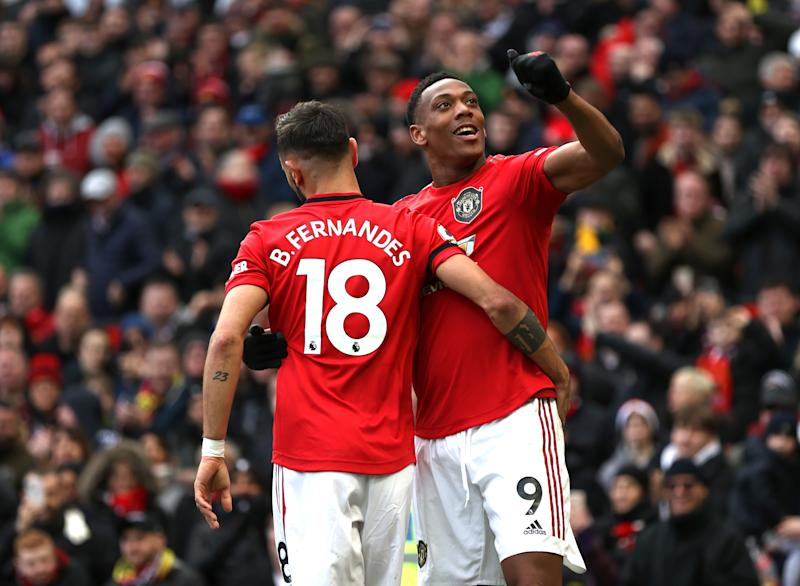 Anthony Martial (9) scored a dazzler and Bruno Fernandes registered his first goal for Manchester United in a win over Watford. (Photo by Clive Brunskill/Getty Images)