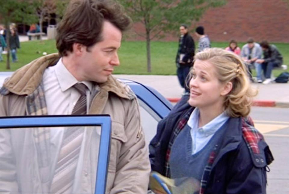 LOS ANGELES - APRIL 23: The movie Election, directed by Alexander Payne. Seen here, left to right, Matthew Broderick (as Jim McAllister) and Reese Witherspoon (as Tracy Flick). Initial theatrical release, Friday, April 23, 1999. Image is a screen grab. (Photo by CBS via Getty Images)