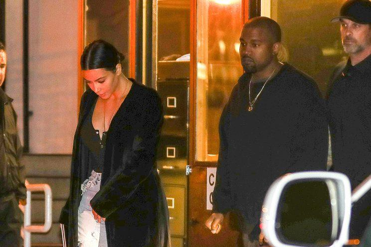Kim Kardashian and Kanye West are spotted on a casual date night.
