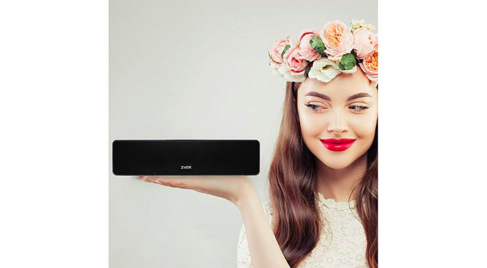 The ZVOX AV100 AccuVoice TV Soundbar is smaller than you might think! (Photo: HSN)