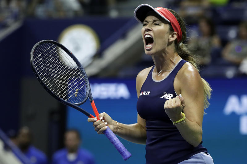 Danielle Collins, of the United States, reacts to winning the first set against Caroline Wozniacki, of Denmark, during the second round of the U.S. Open tennis tournament Thursday, Aug. 29, 2019, in New York. (AP Photo/Adam Hunger)
