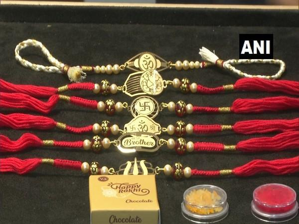 Gold rakhis made by jewellers in Rajkot (Photo/ANI)