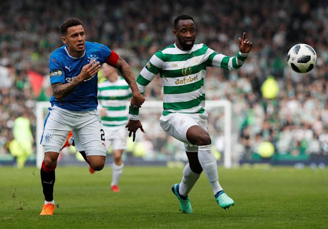 Soccer Football - Scottish Cup Semi Final - Celtic vs Rangers - Hampden Park, Glasgow, Britain - April 15, 2018 Celtic's Moussa Dembele in action with Rangers' James Tavernier REUTERS/Russell Cheyne