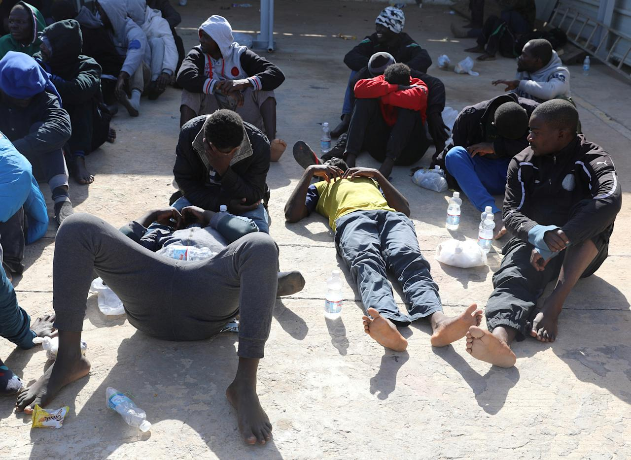 <p>Migrants are seen at a naval base after being rescued by the Libyan coast guard in Tripoli, Libya, March 10, 2018. (Photo: Hani Amara/Reuters) </p>