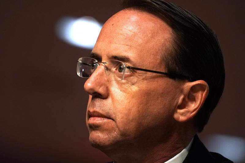 "WASHINGTON, DC - JUNE 03: Former Deputy Attorney General Rod Rosenstein testifies during a Senate Judiciary Committee hearing to discuss the FBI's ""Crossfire Hurricane"" investigation in the Dirksen Senate Office Building June 3, 2020 in Washington DC. The Republican-led panel is exploring issues raised with warrants issued in the FBI investigation, code-named ""Crossfire Hurricane"" at the time, of Trump campaign officials in the 2016 presidential race. (Photo by Greg Nash-Pool/Getty Images)"