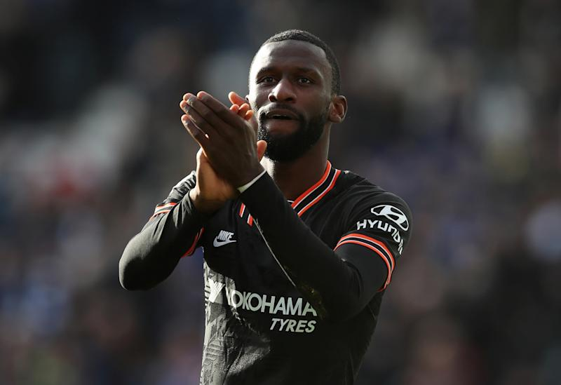 Chelsea's Antonio Rudiger scored twice Saturday in a 2-2 draw at Leicester City. (Reuters/Chris Radburn)
