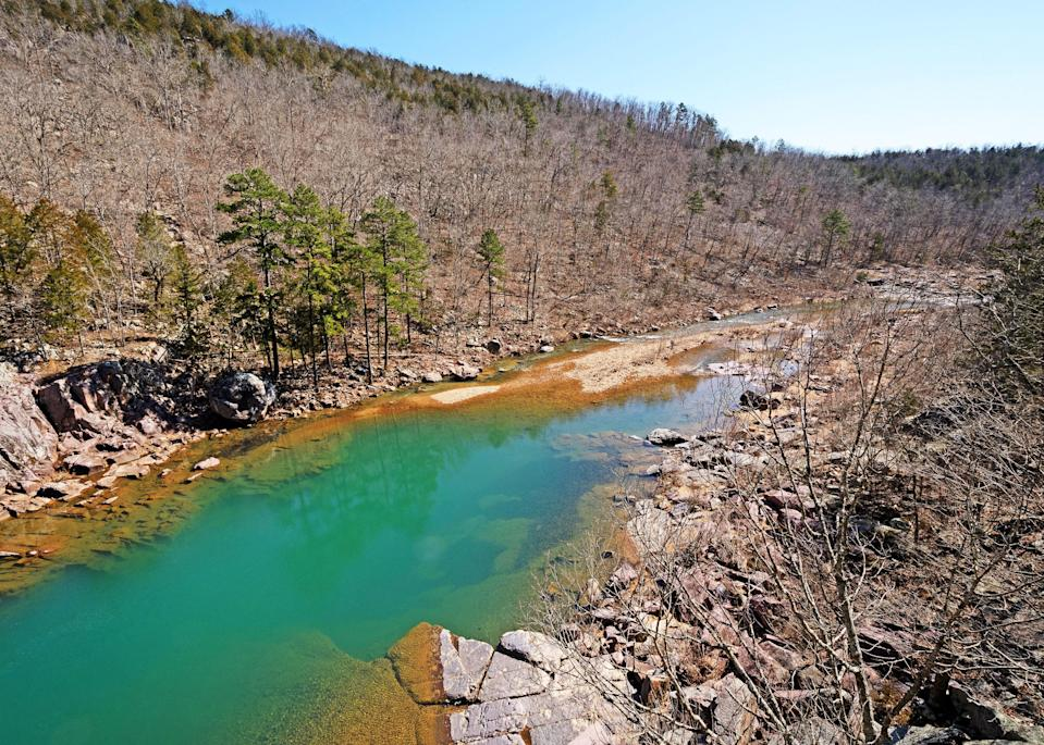 """<p><strong>Best camping in Missouri:</strong> Johnson's Shut-Ins State Park</p> <p>Beat the <a href=""""https://www.cntraveler.com/story/guide-to-st-louis?mbid=synd_yahoo_rss"""" rel=""""nofollow noopener"""" target=""""_blank"""" data-ylk=""""slk:Missouri"""" class=""""link rapid-noclick-resp"""">Missouri</a> heat by splashing around in the boulder-strewn waterfalls and swimming holes of Johnson's Shut-Ins. This well-appointed campground is a stone's throw from the Black River, and locals love the walk-in campsites for their ample space and privacy.</p>"""