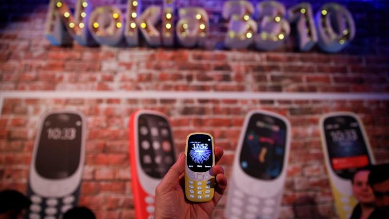 Nokia 3310 device is displayed after its presentation ceremony at Mobile World Congress in Barcelona