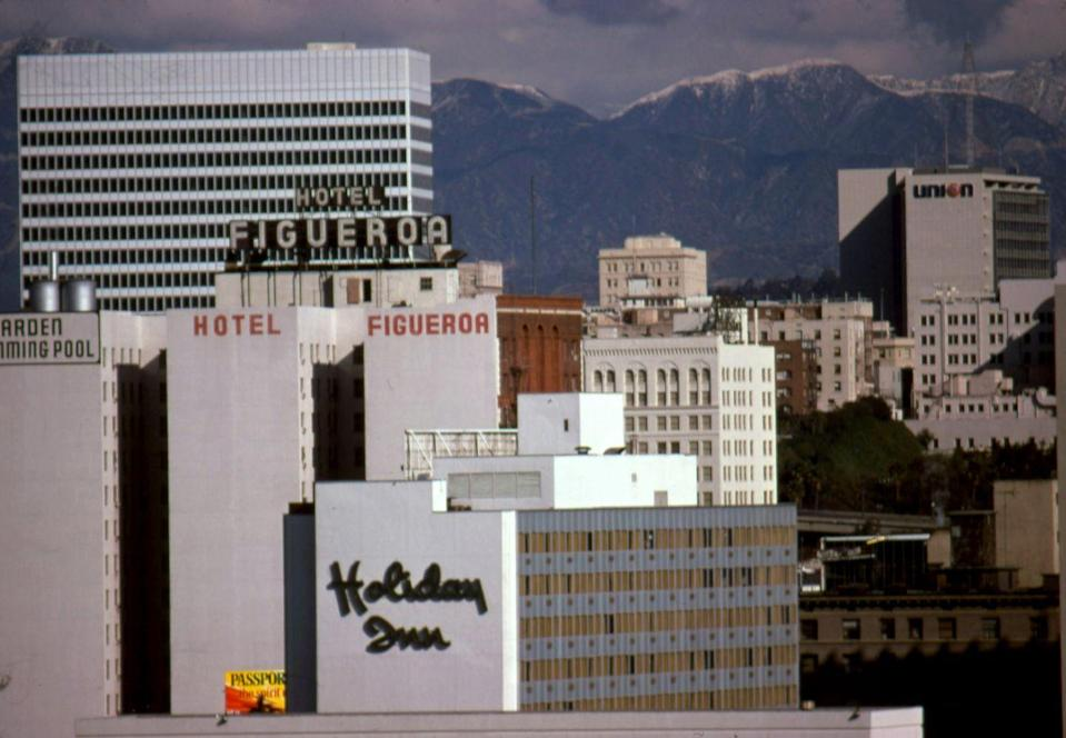 <p>A view of Hollywood's skyline shows some of the major hotels at the time. <br></p>