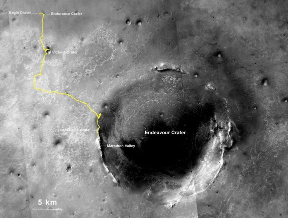 NASA's Mars Exploration Rover Opportunity, having been on Mars since January 2004, exceeded 25 miles of total drivindg on July 27, 2014. The yellow line indicates Opportunity's route from the landing site.