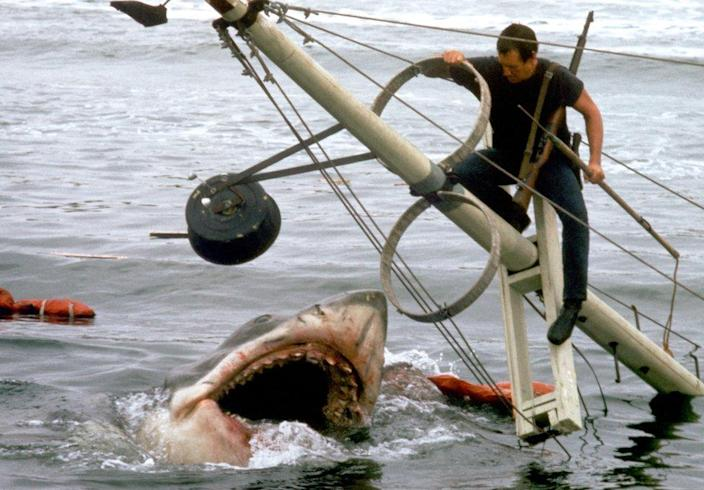 US actor Roy Scheider on the set of Jaws, directed by Steven Spielberg