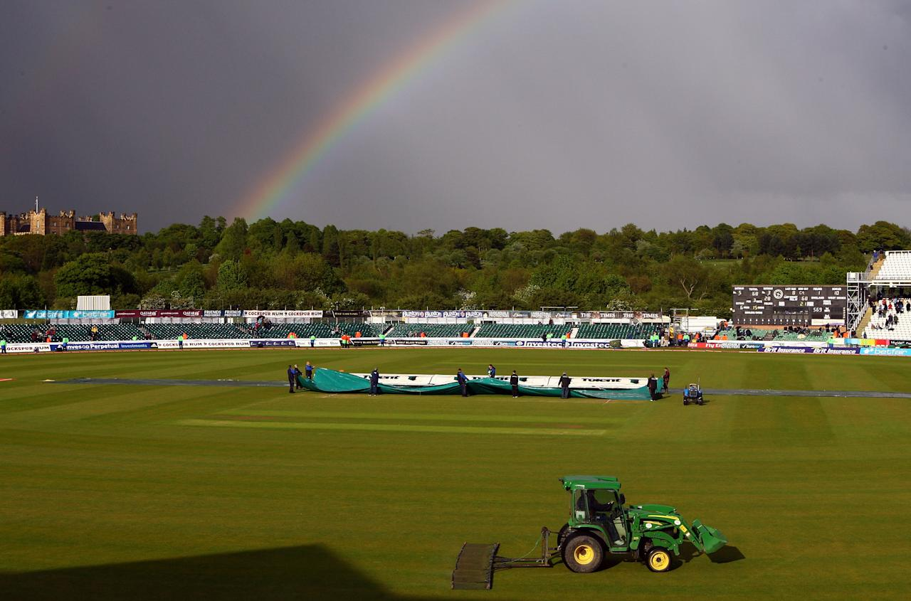 CHESTER-LE-STREET, ENGLAND - MAY 16:  A rainbow arcs  as weather disturbes play on day three of the 2nd npower test match between England and West Indies at The Riverside on May 16, 2009 in Chester-le-Street, England.  (Photo by Julian Finney/Getty Images)