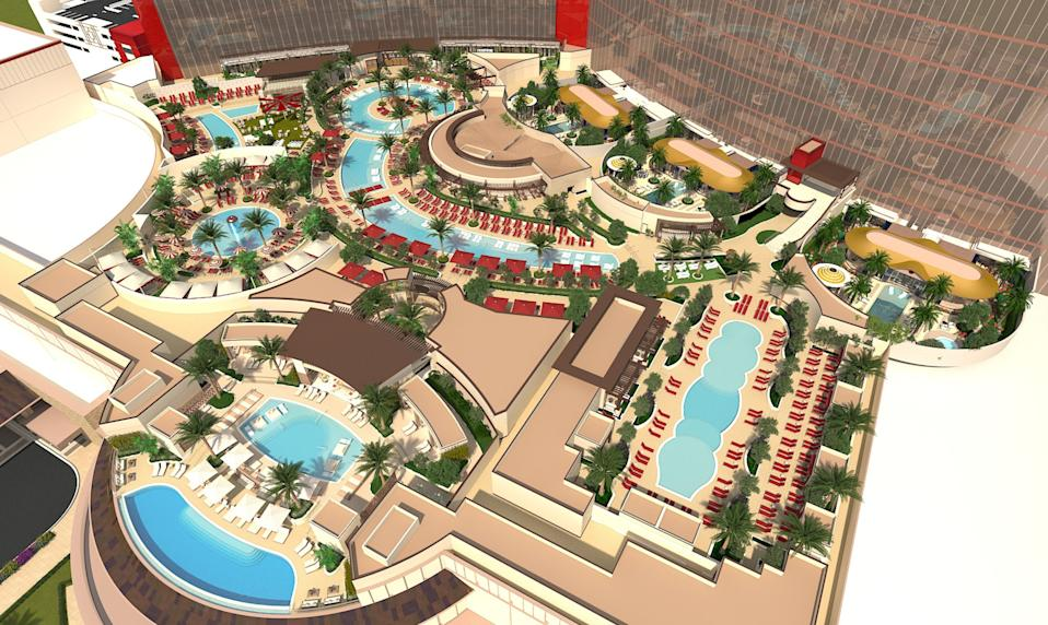 Resorts World Las Vegas will include a 220,000-square-foot pool complex with an 1,800-square-foot infinity pool.