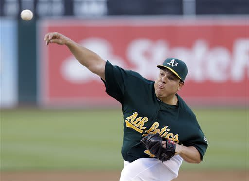 Oakland Athletics starting pitcher Bartolo Colon throws to the Chicago White Sox during the first inning of a baseball game on Friday, May 31, 2013, in Oakland, Calif. (AP Photo/Marcio Jose Sanchez)