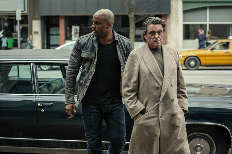 Ricky Whittle as Shadow Moon and Ian McShane as Mr. Wednesday in Starz's <i>American Gods</i>. (Photo: Starz)