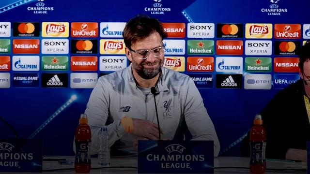 Jurgen Klopp reacts after Liverpool thrash FC Porto 5-0 in the first-leg of their UEFA Champions League first-leg last-16 tie.