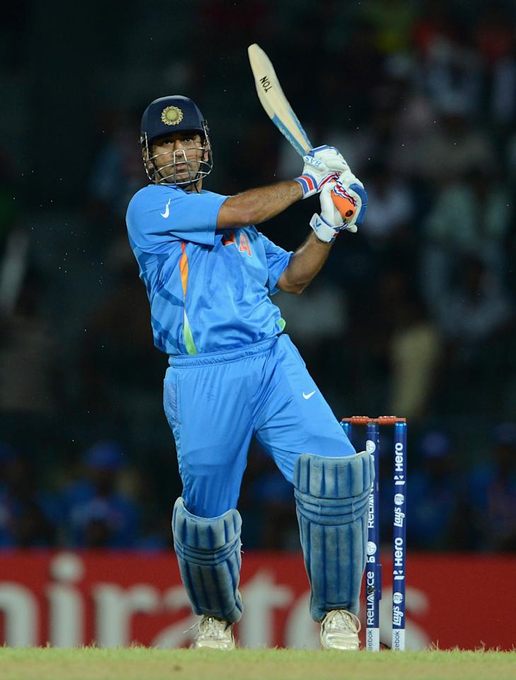 COLOMBO, SRI LANKA - SEPTEMBER 19: India captain MS Dhoni bats during the ICC World Twenty20 2012: Group A match between India and Afghanistan at R. Premadasa Stadium on September 19, 2012 in Colombo, Sri Lanka. (Photo by Gareth Copley/Getty Images,)