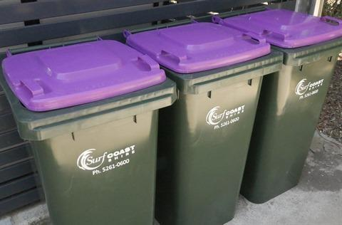 Purple bins will be rolled out and collected from July in Victoria's Surf Coast Shire. Source: Surf Coast Shire