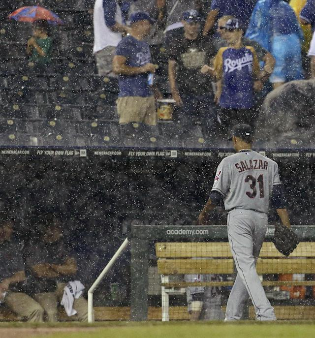 Cleveland Indians starting pitcher Danny Salazar walks to the dugout during a rain delay in the sixth inning of a baseball game against the Kansas City Royals Friday, Aug. 29, 2014, in Kansas City, Mo. (AP Photo/Charlie Riedel)