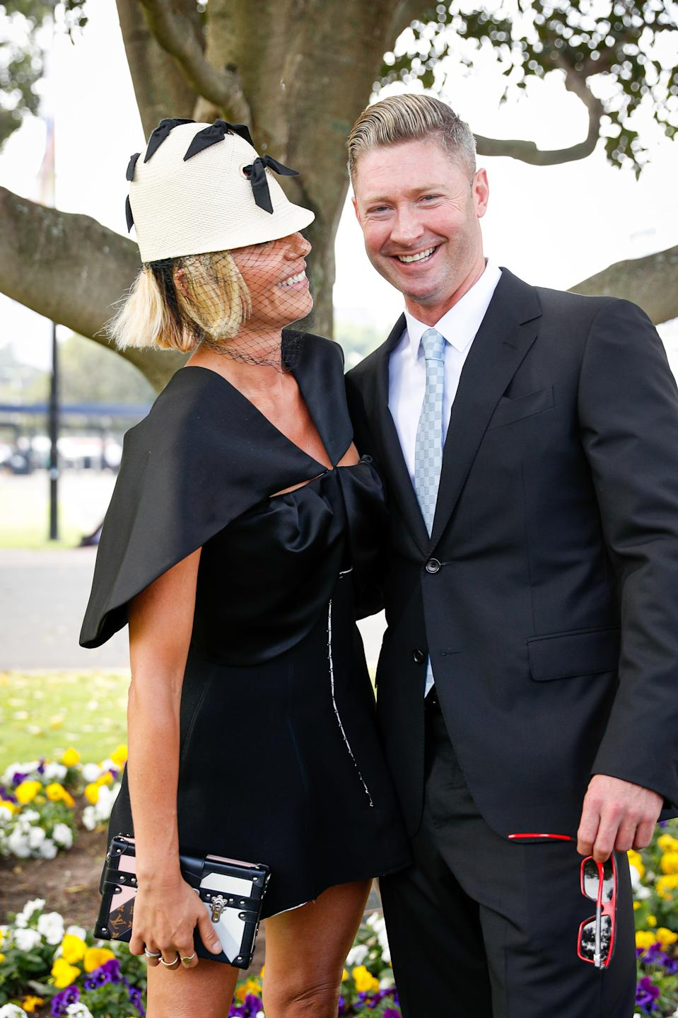 Pip Edwards and Michael Clarke attend Everest Race Day at Royal Randwick Racecourse on October 17, 2020 in Sydney, Australia