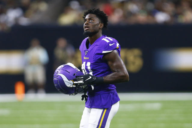 FILE - In this Aug. 9, 2019, file photo, Minnesota Vikings wide receiver Laquon Treadwell (11) walks on the field in the second half of an NFL preseason football game against the New Orleans Saints in New Orleans. Treadwell is likely closing in on the end of his lackluster tenure with the Vikings, three years after they drafted the wide receiver in the first round. (AP Photo/Butch Dill, File)