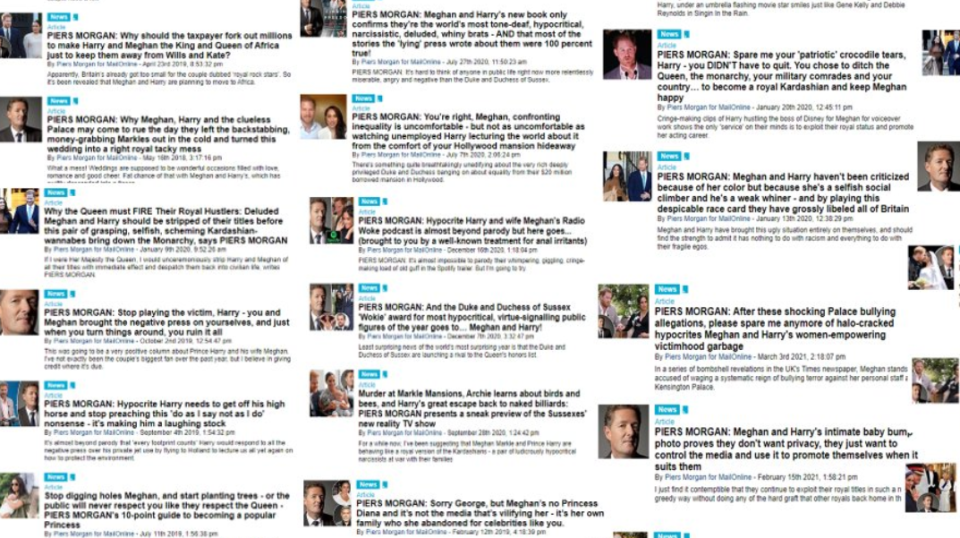 a collection of piers morgan columns for daily mail.