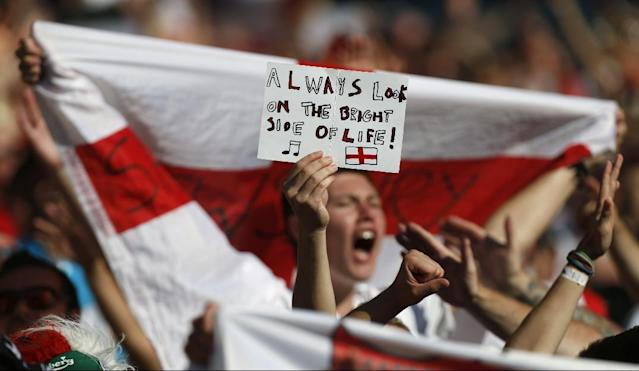 England fans holds up a banner after the group D World Cup soccer match between Costa Rica and England at the Mineirao Stadium in Belo Horizonte, Brazil, Tuesday, June 24, 2014. (AP Photo/Jon Super)