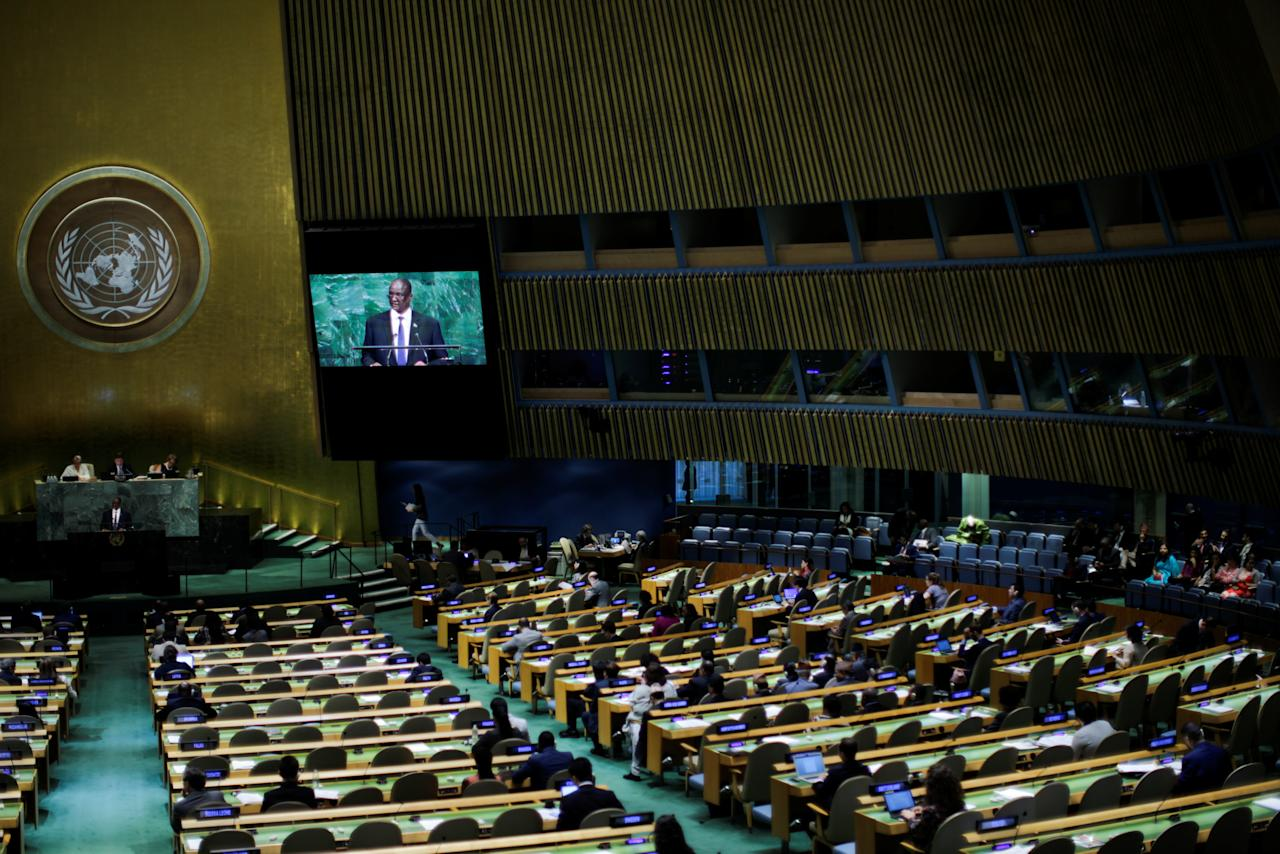 South Sudan First Vice President Taban Deng Gai addresses the 72nd United Nations General Assembly at U.N. headquarters in New York, U.S., September 23, 2017. REUTERS/Eduardo Munoz