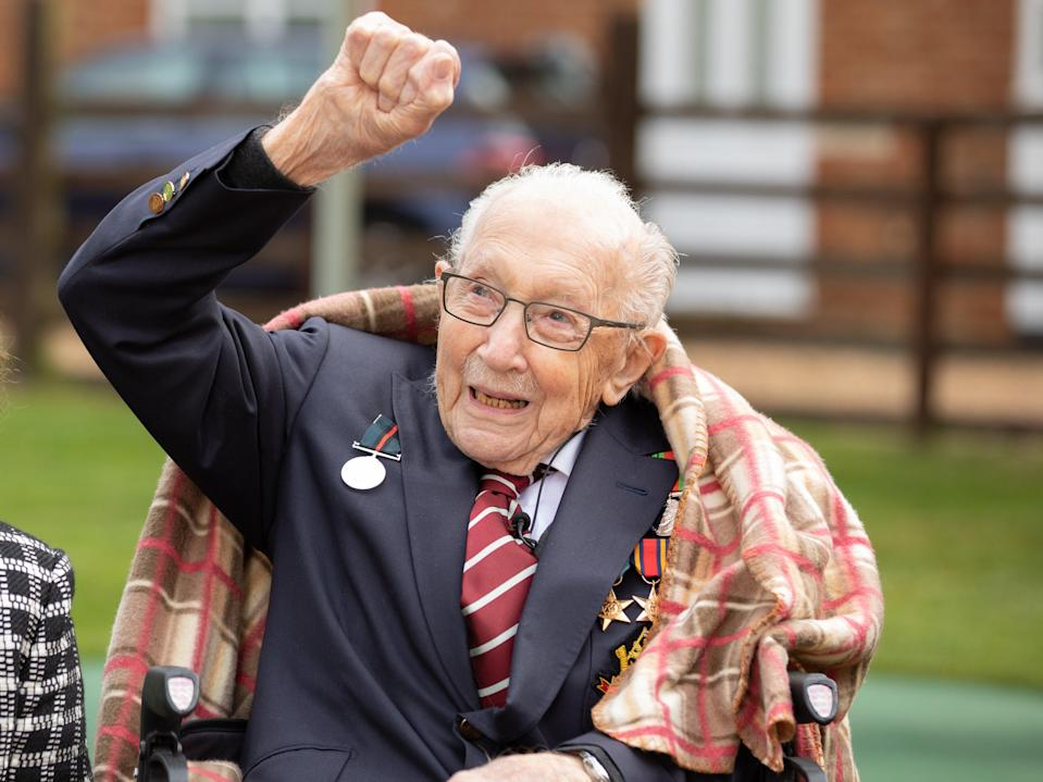 Sir Tom Moore celebrates his 100th birthday in April 2020 (Getty Images)