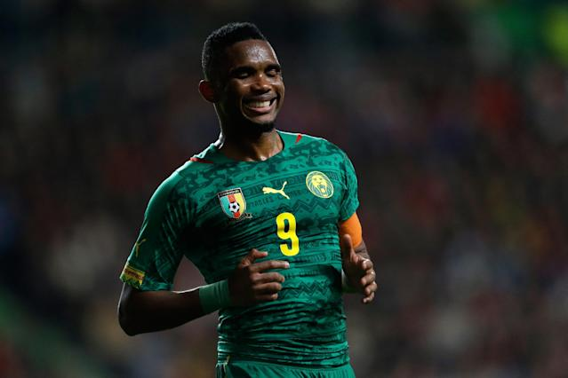 FILE - In this March 5 2014 file photo, Cameroon's Samuel Eto'o reacts after missing a chance to score during their friendly soccer match with Portugal, in Leiria, Portugal. After reconsidering a decision to retire, Samuel Eto'o will be back at the World Cup carrying Cameroon's hopes of a surprising performance in Brazil. (AP Photo/Armando Franca, File)