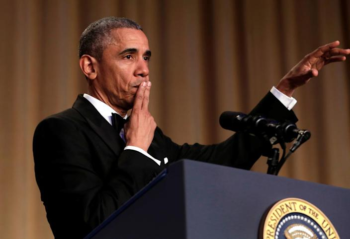 "<p>President Obama says ""Obama out!"" at the White House Correspondents' Dinner, April 30. <i>(Photo: Yuri Gripas/Reuters)</i></p>"
