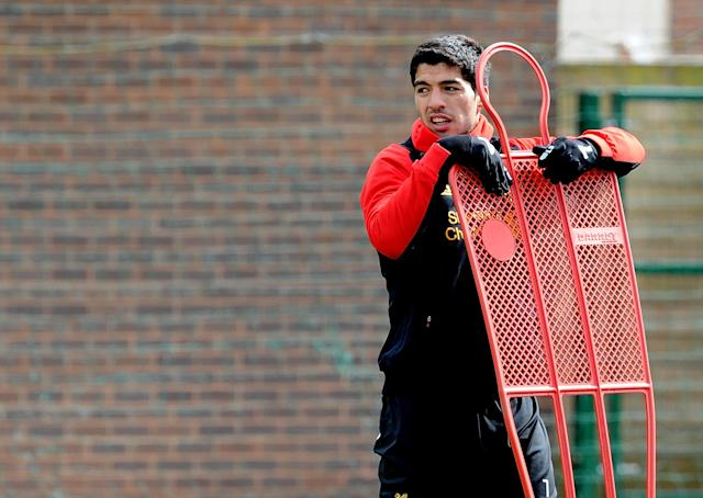 LIVERPOOL, ENGLAND - APRIL 19: (THE SUN OUT, THE SUN ON SUNDAY OUT) Luis Suarez of Liverpool in action during a training session at Melwood Training Ground on April 19, 2013 in Liverpool, England. (Photo by John Powell/Liverpool FC via Getty Images)