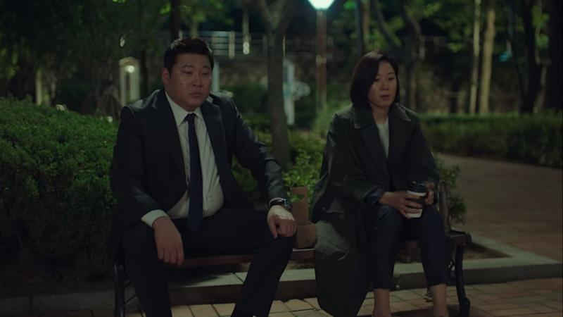 Assistant Chief Prosecutor Woo Tae Ha (Choi Moo Sung, left) and Police Intelligence Chief Choi Bit (Jeon Hye Jin) in Stranger.