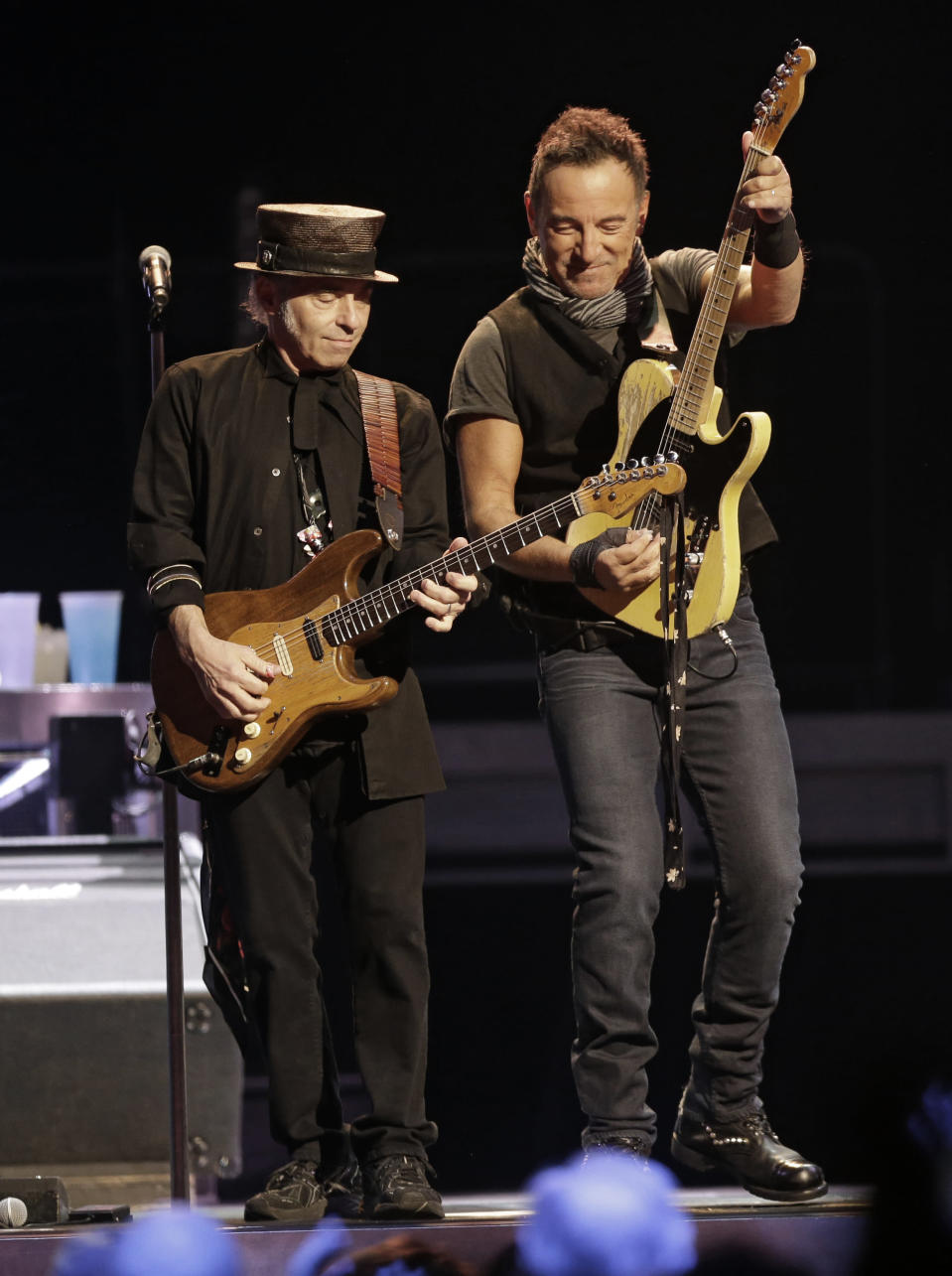"FILE - Bruce Springsteen, right, performs with Nils Lofgren of The E Street Band in Cleveland on Feb. 23, 2016. Springsteen's latest album, ""Letter To You"" will be released on Oct. 23. (AP Photo/Tony Dejak, File)"
