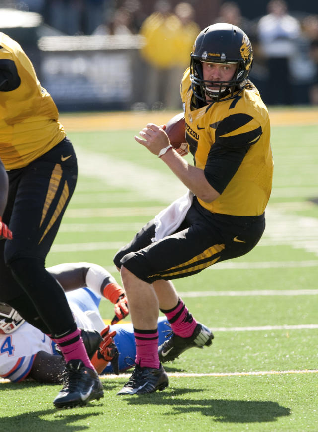 Missouri quarterback Maty Mauk runs the ball during the fourth quarter of an NCAA college football game against Florida Saturday, Oct. 19, 2013, in Columbia, Mo. Missouri won the game 36-17.(AP Photo/L.G. Patterson)