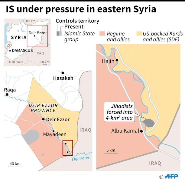 Map showing territorial control in eastern Syria as of January 31. (AFP Photo/)