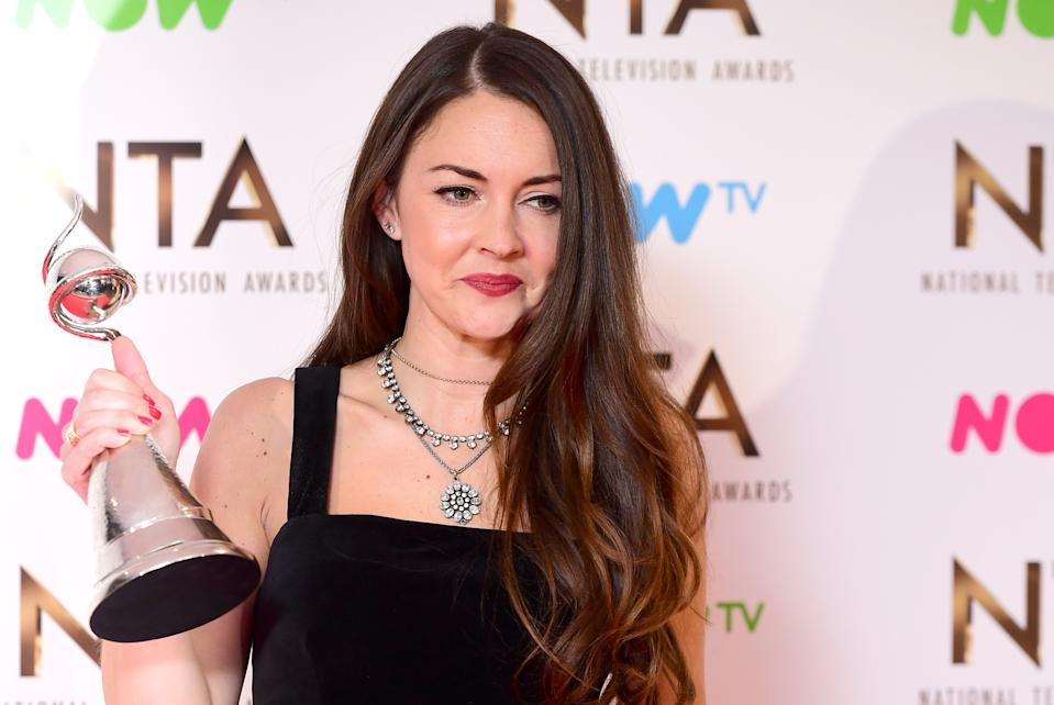 Lacey Turner in the press room with the Best Serial Drama Performance Award for her role as Stacey Slater in Eastenders at the National Television Awards 2017, held at The O2 Arena, London. PRESS ASSOCIATION Photo. Picture date: 25th January, 2017. See PA Story SHOWBIZ NTAs. Photo credit should read: Ian West/PA Wire (Photo by Ian West/PA Images via Getty Images)