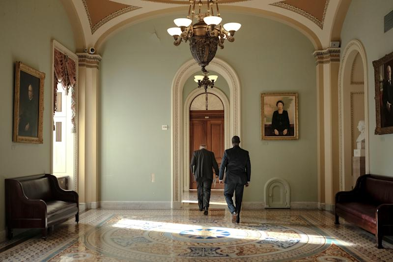 Senate Minority Leader Chuck Schumer (D-N.Y.) walks to his office before the articles of impeachment are transferred to the senate at the Capitol in Washington, D.C., on Jan. 15, 2020. | Gabriella Demczuk for TIME