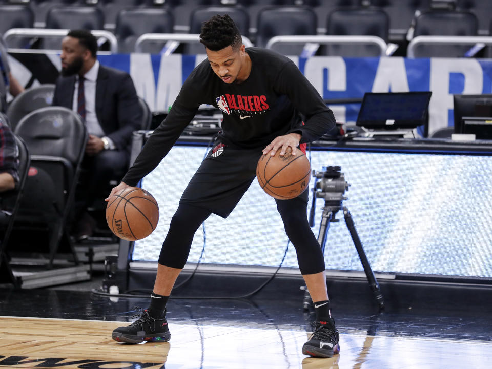 ORLANDO, FL - MARCH 2: C.J. McCollum #3 of the Portland Trail Blazers warms up before the game against the Orlando Magic at the Amway Center on March 2, 2020 in Orlando, Florida. NOTE TO USER: User expressly acknowledges and agrees that, by downloading and or using this photograph, User is consenting to the terms and conditions of the Getty Images License Agreement. (Photo by Don Juan Moore/Getty Images)