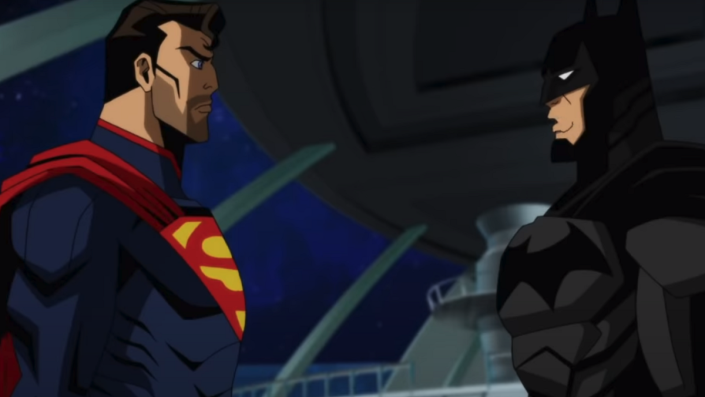 Superman and Batman in the Injustice trailer for the animated film.