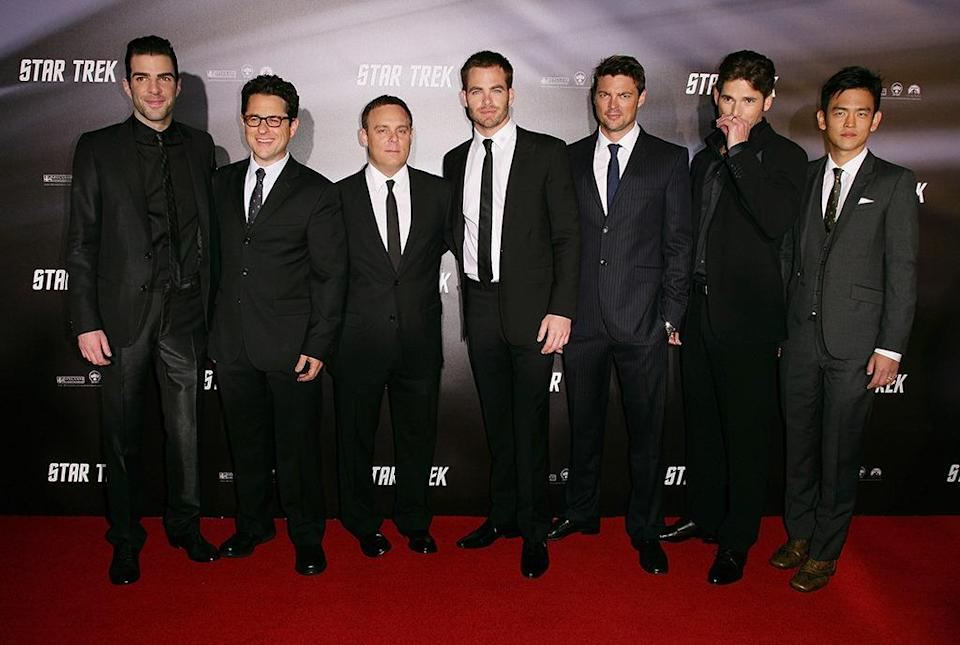 <p>(L-R) Zachary Quinto, J.J. Abrams, executive producer Bryan Burk, Chris Pine, Karl Urban, Eric Bana, and John Cho. <i>(Photo: Don Arnold/WireImage)</i></p>