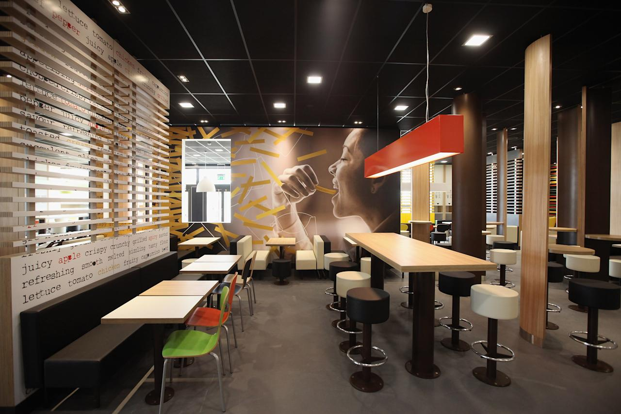 LONDON, ENGLAND - JUNE 25:  An interior view of the world's largest McDonald's restaurant and their flagship outlet in the Olympic Park on June 25, 2012 in London, England. The restaurant, which is one of four McDonald's to be situated within the Olympic Park, will have a staff of 500. After the Olympic and Paralympic Games conclude the restaurant will be dismantled and all fixtures and fittings will be either reused or recycled.  (Photo by Oli Scarff/Getty Images)
