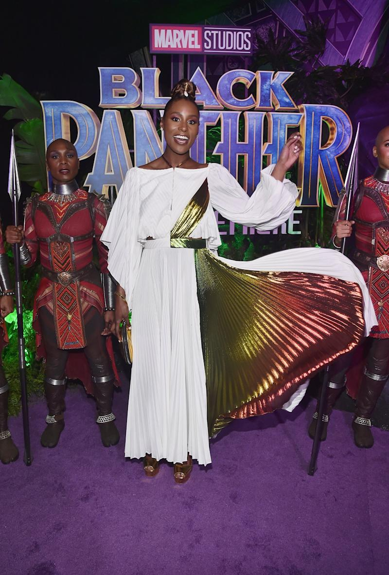 Who: Issa Rae What: Rosie Assoulin Where: At the Black Panther premiere, Los Angeles When: January 29, 2018