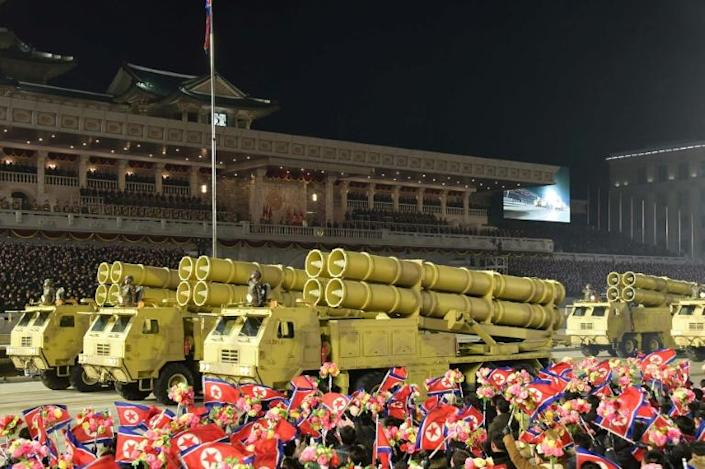 The parade came after the five-yearly congress of the ruling Workers' Party, where leader Kim Jong Un decried the US as his country's 'foremost principal enemy'