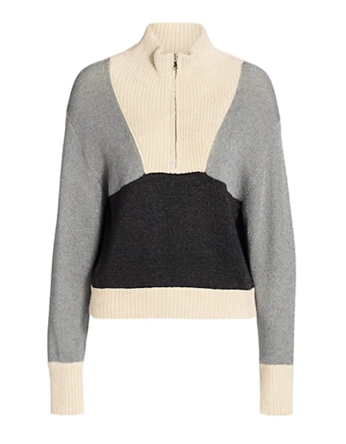 "Behold the mock-neck half-zip in all its glory. The turtleneck's lower-slung cousin is an excellent layer for transitioning into breezier temps: The collar hits right in the middle so you can stay warm without constricting your neck. $550, Saks Fifth Avenue. <a href=""https://www.saksfifthavenue.com/product/3.1-phillip-lim-front-zip-double-face-lurex-pullover-sweater-0400013146856.html"" rel=""nofollow noopener"" target=""_blank"" data-ylk=""slk:Get it now!"" class=""link rapid-noclick-resp"">Get it now!</a>"