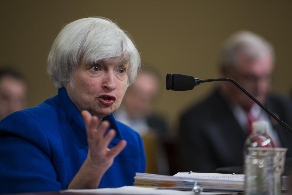 WASHINGTON, DC - NOVEMBER 29: Federal Reserve Chair Janet Yellen testifies during a Joint Economic Committee on Economy Hearing on Capitol Hill November 29, 2017 in Washington, DC. Yellen spoke about gradual interest rates increases in the future. (Photo by Zach Gibson/Getty Images)